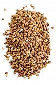Buckwheat seeds closeup isolated on white background