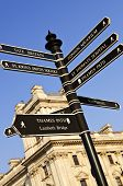 Signpost in Westminster London showing various attractions