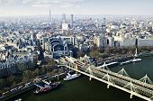 Hungerford bridge seen from London Eye in England