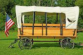 Old Fashioned Horse Drawn  Covered Wagon