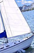 Sailboat close up sailing in Toronto harbour