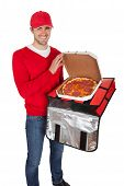 Portrait Of Pizza Delivery Boy With Thermal Bag