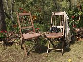Two Rustic Wooden Chairs