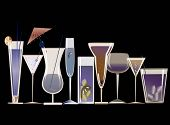 image of champagne glass  - collection of some very stylish cocktails design in blue background - JPG