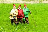 Three Garden Gnomes Enjoy Children At The Festival For Inauguration The New Quellenpark