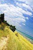 Sand dunes at beach shore. Pinery provincial park, Ontario Canada
