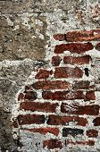 Old red brick and cement grunge wall background