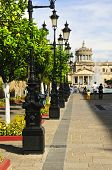 stock photo of cabana  - Plaza Tapatia leading to Hospicio Cabanas in historic Guadalajara center - JPG