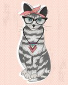 stock photo of kitty  - Cute hipster rockabilly cat with head scarf glasses and necklace - JPG