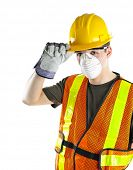Male construction worker wearing safety protective gear