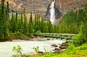 Takakkaw Falls waterfall and footbridge in Yoho National Park, British Columbia, Canada