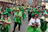 Eclectic Band In Green Plays In St. Patrick's Parade