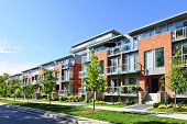picture of row trees  - Modern town houses of brick and glass on urban street - JPG