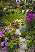 foto of horticulture  - Lush landscaped garden with flowerbed and colorful plants - JPG