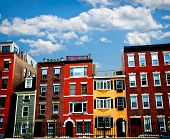 stock photo of row houses  - Row of brick houses in Boston historical North End - JPG