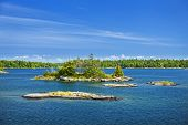 Small rocky islands in Georgian Bay near Parry Sound, Ontario Canada