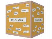 Empowerment 3D Cube Corkboard Word Concept