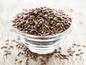 Bowl full of brown flax seed or linseed