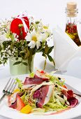 pic of duck breast  - Salad with smoked duck breast close up - JPG