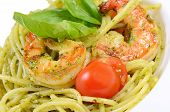 Spaghetti With Sauce Pesto And Shrimps