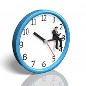 Businessman Sitting On Clock Hand