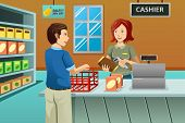 stock photo of cashiers  - A vector illustration of cashier working in the grocery store serving a customer - JPG