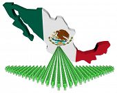Arrow of people with Mexico map flag illustration