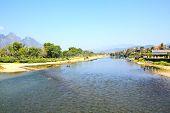 Landscape By The Song River At Vang Vieng, Laos.