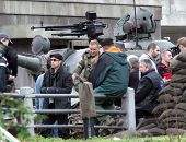 ESZTERGOM, HUNGARY - NOV 10: Angelina Jolie and Brad Pitt on the set of her directorial debut In The