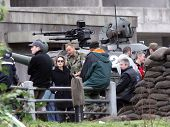 ESZTERGOM, HUNGARY - NOVEMBER 10: Angelina Jolie (in sunglasses) on the set of her directorial debut