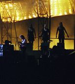 WASHINGTON DC - JULY 10: The band Pink Floyd plays in concert at RFK Stadium in Washington, D.C. on Sunday, July 10, 1994. The band members included  David Gilmour,  Nick Mason,  Roger Waters, and Richard Wright. very noisy