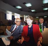 PALE, BOSNIA - JUNE 10: Bosnian Serb president Biljana Plavsic attends a session of the Bosnian Serb