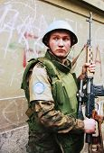 SARAJEVO, BOSNIA - FEB 16: A Ukrainian peacekeeper with the United Nations Protection Force (UNPROFO