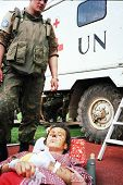 SARAJEVO, BOSNIA - APR 4: A Ukrainian soldier, in Bosnia with United Nations Protection Force (UNPRO