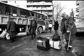 SARAJEVO, BOSNIA - MAR 15: Bosnian Serb women prepare to flee their homes as NATO troops pour into