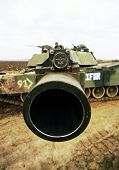 ZUPANIA, BOSNIA - JAN 22: An United States Army M1A1 tank on patrol near Zupanja, Bosnia, on Sunday,