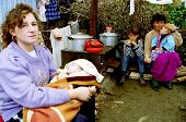 PAGARUSHA, KOSOVO, 05 OCTOBER 1998 - Ethnic Albanian refugees struggle in makeshift camps, away from