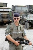 PLOCE, BOSNIA - AUGUST 9: A French mariner stands guard over a supply convoy during the first Anglo-