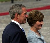 BUDAPEST, HUNGARY - JUNE 22: United States President George W. Bush with first lady Laura Bush in Bu