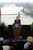 BUDAPEST, HUNGARY - JUNE 22: United States President George W. Bush speaks at an outdoor ceremony ma