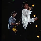 WASHINGTON, D.C. - AUG 4: Mick Jagger, at right,  and Keith Richards play during the Rolling Stones'