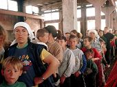 KUKES, ALBANIA, 04 MAY 1999 --- Kosovar Albanian refugees line up for care at a Medicines Sans Front