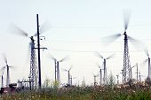 NOVOAZOVSK - JULY 13: Windmills generate energy at the Novoazovsk wind farm in Novoazovsk, Ukraine,