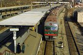 VLADIVOSTOK - NOVEMBER 24, 2002:  A train running on  the Trans-Siberian railroad arrives at the mai