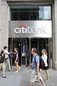 NEW YORK CITY - JULY 11: Pedestrians walk past a Citibank retail branch in lower Manhattan on Thursd