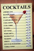 MONTEROSSO - ITALY: AUG 17:  A price list of cocktails in Monterosso, Italy, on Sunday, August 17, 2