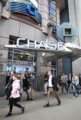 NEW YORK CITY - OCT 17:  Pedestrians walk past an JP Morgan Chase Bank, N.A. branch in Manhattan on
