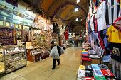 ISTANBUL, TURKEY - SATURDAY, MARCH 8, 2014: Scenes from the inside of the Grand Bazaar in Istanbul,