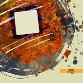 art frame on blue and orange watercolor and inkblot background with space for text