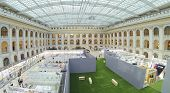 MOSCOW, RUSSIA - DEC 24, 2013: (aerial view) Paole at festival of Architecture 2013 in exhibition center Gostiny Dvor.